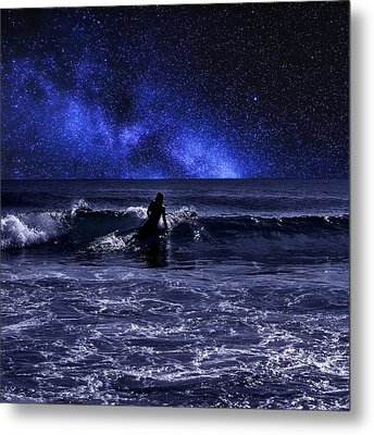 Night Surfing Metal Print