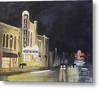 Night Time At Michigan Theater - Ann Arbor Mi Metal Print by Yoshiko Mishina