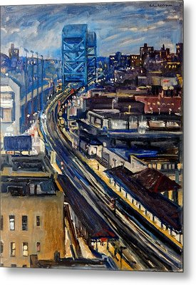 Night Tracks New York Nocturne Broadway Bridge Metal Print by Thor Wickstrom