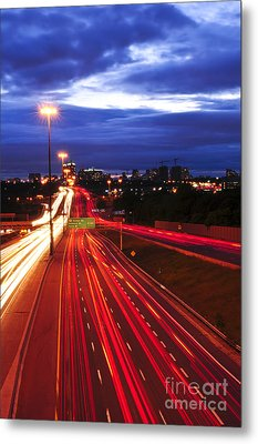 Night Traffic Metal Print