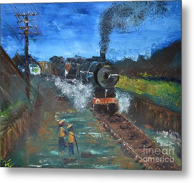 Metal Print featuring the painting Night Train by Denise Tomasura