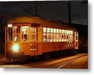 Metal Print featuring the photograph Night Trolley by Jim Poulos
