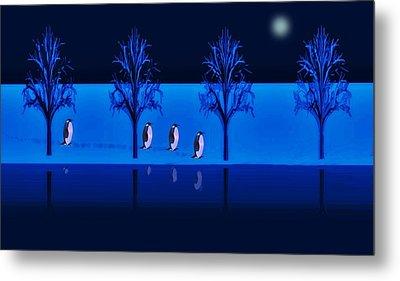 Night Walk Of The Penguins Metal Print by David Dehner