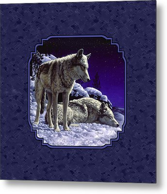 Night Wolves Painting For Pillows Metal Print by Crista Forest