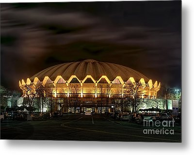 night WVU basketball Coliseum arena in Metal Print by Dan Friend