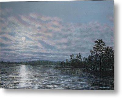 Nightfall - Moonrise On The Waterfront Metal Print by Kathleen McDermott