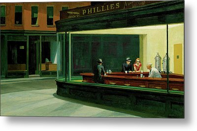 Metal Print featuring the  Nighthawks by Edward Hopper