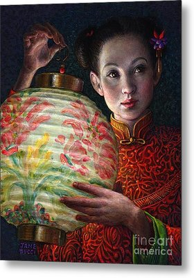 Metal Print featuring the painting Nightingale Girl by Jane Bucci