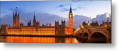 Nightly View - Houses Of Parliament Metal Print