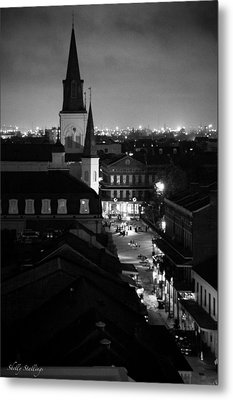 Metal Print featuring the photograph Nightscape B/w by Shelly Stallings