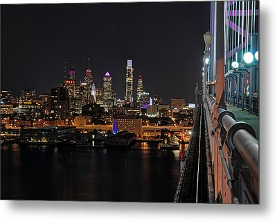 Nighttime Philly From The Ben Franklin Metal Print by Jennifer Ancker