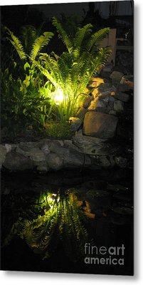 Nighttime Reflection Metal Print by Debbie Finley