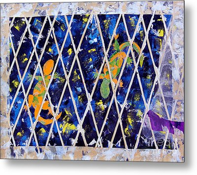 Nighttime View From The Kitchen Window Metal Print by Paula Drysdale Frazell