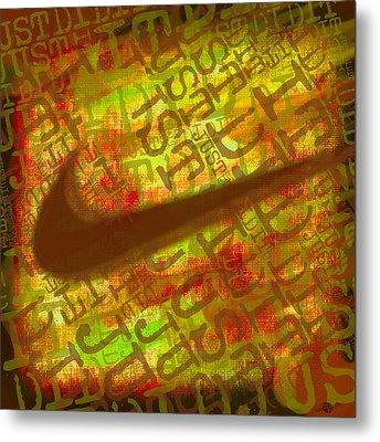 Nike Just Did It Gold Metal Print by Tony Rubino