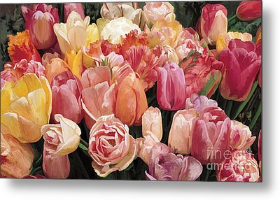 Metal Print featuring the painting Nikki's Tulips by Tim Gilliland