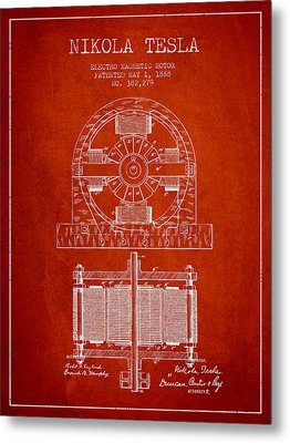 Nikola Tesla Electro Magnetic Motor Patent Drawing From 1888 - R Metal Print by Aged Pixel