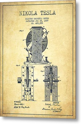 Nikola Tesla Electro Magnetic Motor Patent Drawing From 1889 - V Metal Print