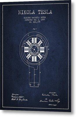 Nikola Tesla Patent Drawing From 1889 - Navy Blue Metal Print by Aged Pixel