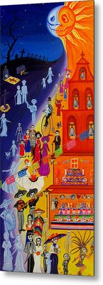 Metal Print featuring the painting Nite And Day Procession by Evangelina Portillo