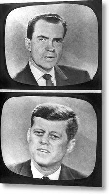Nixon-kennedy Debate On Tv Metal Print by Underwood Archives