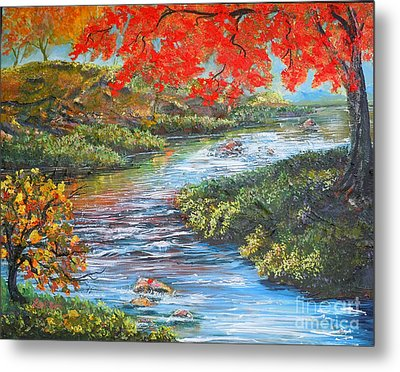 Nixon's Brilliant View Of Fall Alongside The Rapidan River Metal Print by Lee Nixon