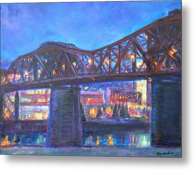 City At Night Downtown Evening Scene Original Contemporary Painting For Sale Metal Print by Quin Sweetman