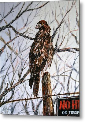 Metal Print featuring the painting No Hunting by Craig T Burgwardt