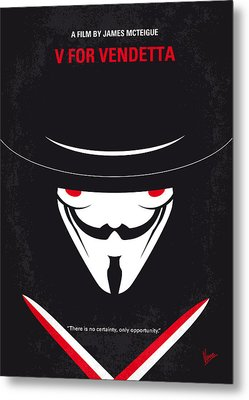 No319 My V For Vendetta Minimal Movie Poster Metal Print by Chungkong Art