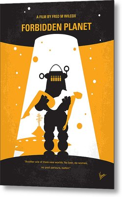 No415 My Forbidden Planet Minimal Movie Poster Metal Print by Chungkong Art