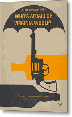 No426 My Whos Afraid Of Virginia Woolf Minimal Movie Poster Metal Print by Chungkong Art