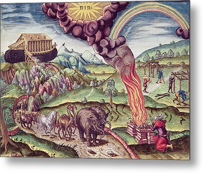 Noahs Ark, Illustration From Brevis Narratio..., Published By Theodore De Bry, 1591 Coloured Metal Print by Th. Bry
