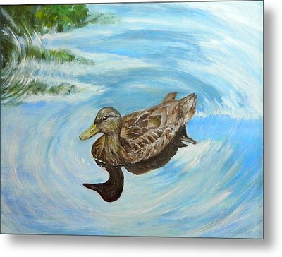 Metal Print featuring the painting Noah's Duck by Sandra Nardone
