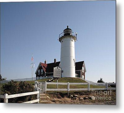 Nobska Lighthouse On Cape Cod At Woods Hole Massachusetts Metal Print by William Kuta