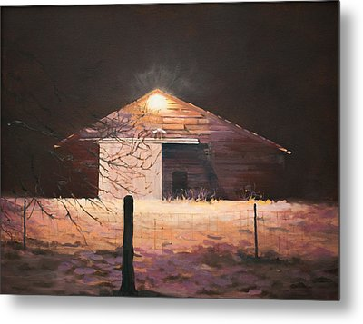Metal Print featuring the painting Nocturnal Barn by Rebecca Matthews