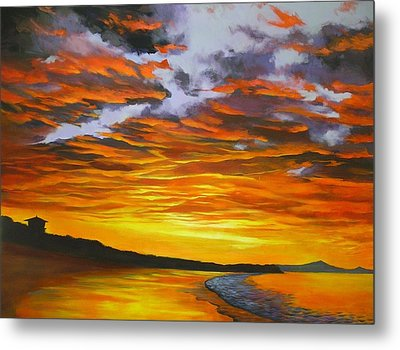 Metal Print featuring the painting Noosa Sunset by Chris Hobel