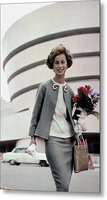 Norma Collier Standing In Front Of The Guggenheim Metal Print