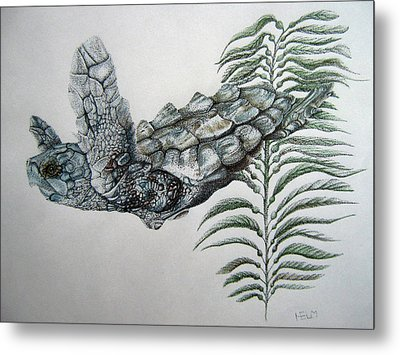 Metal Print featuring the drawing Norman Blue by Mayhem Mediums