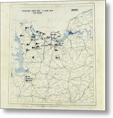Normandy Campaign Map Metal Print by Library Of Congress, Geography And Map Division