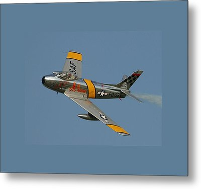 North American F 86 Sabre John Glenn Border Metal Print by L Brown