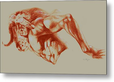 North American Minotaur Red Sketch Metal Print