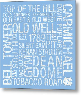 North Carolina College Colors Subway Art Metal Print
