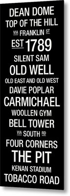 North Carolina College Town Wall Art Metal Print