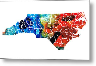 North Carolina - Colorful Wall Map By Sharon Cummings Metal Print