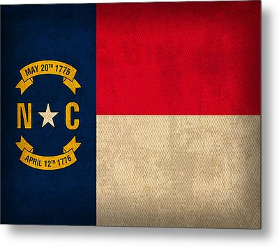 North Carolina State Flag Art On Worn Canvas Metal Print