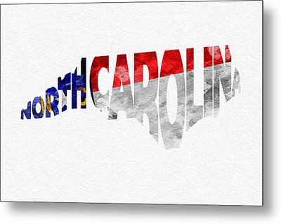 North Carolina Typographic Map Flag Metal Print by Ayse Deniz