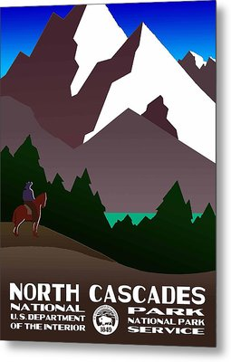 North Cascades National Park Vintage Poster Metal Print