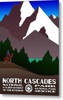 North Cascades National Park Vintage Poster Metal Print by Eric Glaser