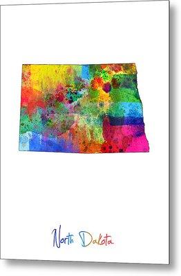 North Dakota Map Metal Print