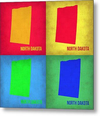 North Dakota Pop Art Map 1 Metal Print by Naxart Studio