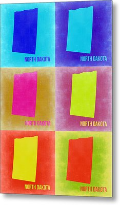 North Dakota Pop Art Map 2 Metal Print by Naxart Studio